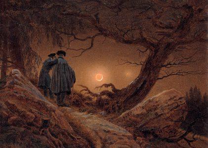 «Dos hombres contemplando la Luna»